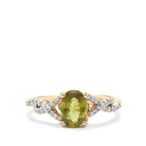 Ambilobe Sphene Ring with Diamond in 18K Gold 1.32cts