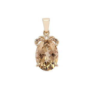 Champagne Danburite Pendant with Champagne Diamond in 9K Gold 6cts