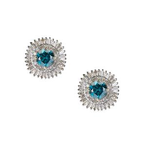 Diamond Earrings with Blue Diamond in 9K Gold 1.97cts