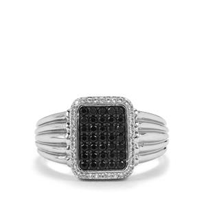 Black Spinel Ring with White Topaz in Sterling Silver 0.87ct
