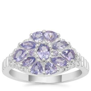 Tanzanite Ring with White Zircon in Sterling Silver 1.24cts