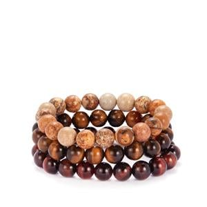 Yellow, Red Tiger's Eye & Picture Jasper Set of 3 Stretchable Bracelets 389cts