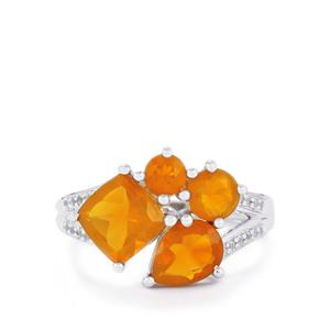 AA Orange American Fire Opal Ring with White Topaz in Sterling Silver 2.45cts
