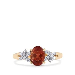 Oregon Sunstone Ring with Diamond in 18K Gold 1.11cts