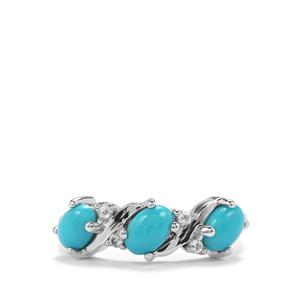 Sleeping Beauty Turquoise Ring with White Topaz in Sterling Silver 1.37cts