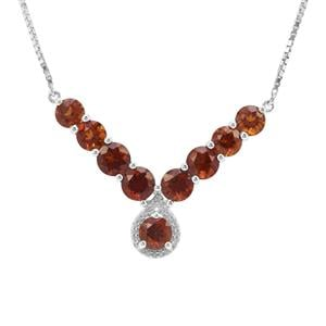 Madeira Citrine Necklace with White Zircon in Sterling Silver 5.93cts
