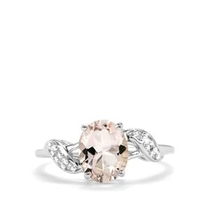 Alto Ligonha Morganite Ring with Diamond in 9K White Gold 1.61cts