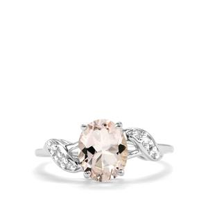 Alto Ligonha Morganite Ring with Diamond in 10k White Gold 1.61cts