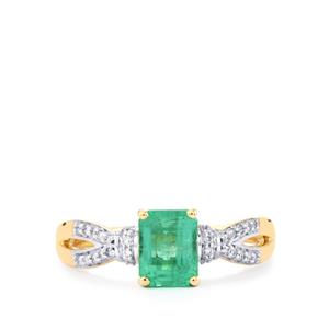 Ethiopian Emerald Ring with Diamond in 18k Gold 1.40cts