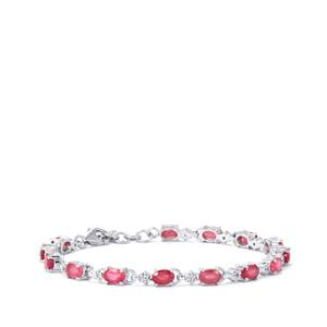 Malagasy Ruby Bracelet with White Topaz in Sterling Silver 10.33cts (F)