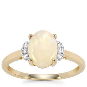 Coober Pedy Opal Ring with White Zircon in 10k Gold 1.12cts
