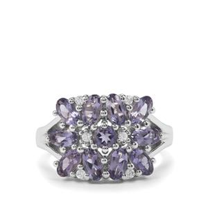 Bengal Iolite & White Zircon Sterling Silver Ring ATGW 2.06cts