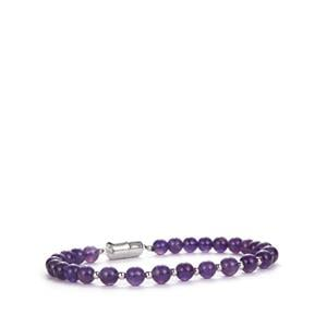 Zambian Amethyst Bracelet with Magnetic Lock in Sterling Silver 47.63cts