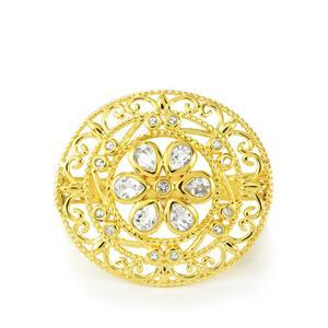 1.36ct White Topaz Gold Vermeil Ring
