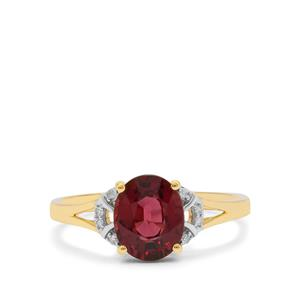 Mangochi Garnet & Diamond 9K Gold Ring ATGW 2.07cts