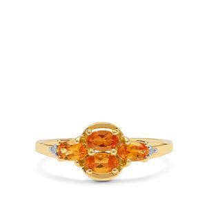 Mandarin Garnet Ring with Diamond in 9K Gold 1.20cts