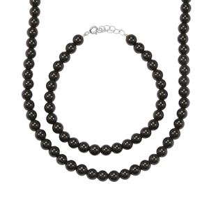 Black Onyx Set of Necklace & Bracelet in Sterling Silver 135cts