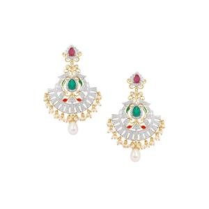 Montepuez Ruby, Green Onyx, Kaori Cultured Pearl Earrings with Diamond in Gold Plated Sterling Silver (F)
