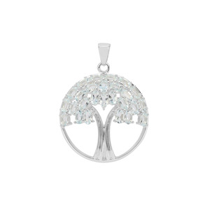 5.31ct Aquamarine Sterling Silver Tree of Life Pendant