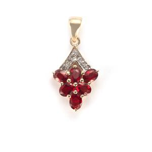 Winza Ruby Pendant with White Zircon in 10k Gold 1.33cts