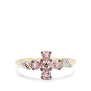 Pink Spinel & White Zircon 9K Gold Ring ATGW 0.65ct