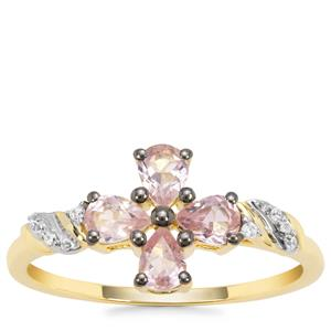 Pink Spinel Ring with White Zircon in 9K Gold 0.65ct