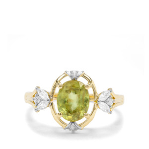 Ambilobe Sphene & White Zircon 9K Gold Ring ATGW 1.76cts
