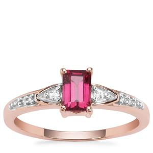 Malawi Garnet Ring with White Zircon in 9K Rose Gold 0.84ct