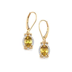 Ambilobe Sphene Earrings with Diamond in 18K Gold 3cts