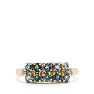 Tunduru Color Change Sapphire Ring with White Zircon in 10k Gold 1.11cts