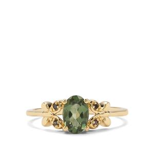 Mandrare Green Apatite & Green Diamond 9K Gold Ring ATGW 0.84cts