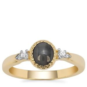 Cats Eye Alexandrite Ring with White Zircon in 9K Gold 1.26cts