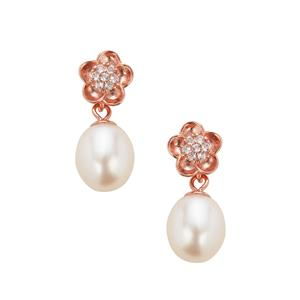 Kaori Cultured Pearl Earrings with White Topaz in Rose Gold Plated Sterling Silver