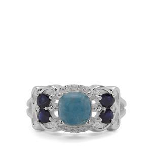 Thor Blue Quartz, Thai Sapphire & White Zircon Sterling Silver Ring ATGW 2.34cts