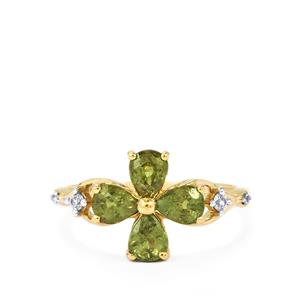 Ambanja Demantoid Garnet & White Zircon 9K Gold Ring ATGW 1.75cts