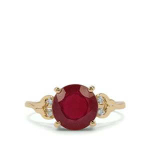 Malagasy Ruby Ring with Diamond in 9K Gold 3.89cts (F)