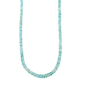 Ratanakiri Blue Zircon Graduated Bead Necklace in Sterling Silver 69.08cts