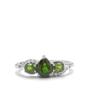 Chrome Diopside & White Topaz Sterling Silver Ring ATGW 1.52cts