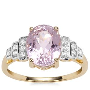 Kolum Kunzite Ring with White Zircon in 10k Gold 3.69cts