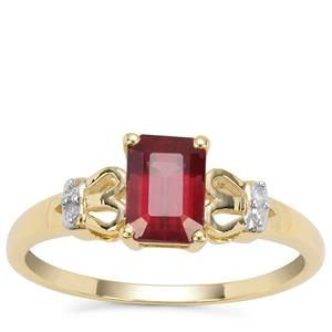 Malawi Garnet Ring with Diamond in 9K Gold 1.18cts