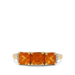 Mandarin Garnet Ring with Diamond in 9K Gold 2.20cts
