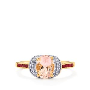 Alto Ligonha Morganite, Malagasy Ruby Ring with Diamond in 10k Gold 1.30cts (F)