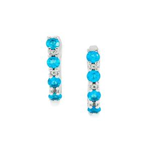 Neon Apatite Earrings with White Topaz in Sterling Silver 1ct