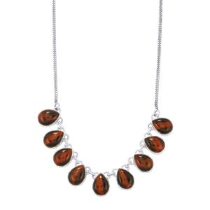 Red Tiger's Eye Necklace in Sterling Silver 52cts