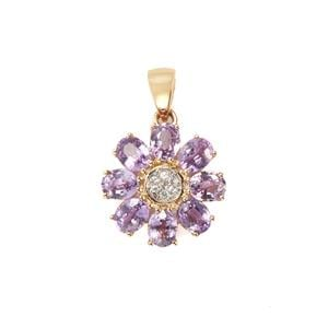 Natural Purple Sapphire Pendant with White Zircon in 10K Gold 2.44cts