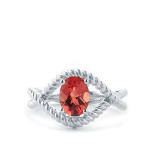 1.09ct Mongolian Red Andesine Sterling Silver Ring