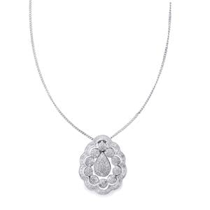 Diamond 3 in 1 Detachable Pendant Necklace with one Chain in Sterling Silver 1ct