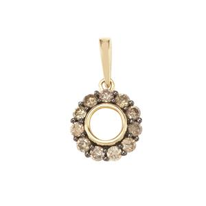Champagne Diamond Pendant in 9K Gold 0.34ct