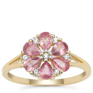 Padparadscha Sapphire Ring with White Zircon in 9K Gold 1.31cts