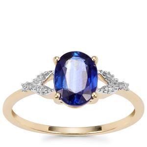 Daha Kyanite Ring with Diamond in 10K Gold 1.59cts